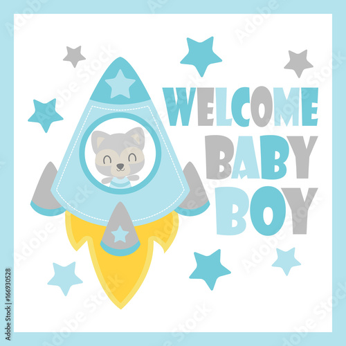 Photo  Cute baby raccoon in rocket vector cartoon illustration for baby shower card des