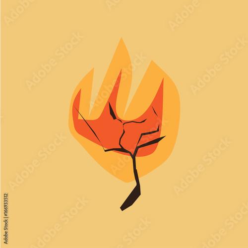 Canvastavla Minimalistic vector illustration of a Bible scene: burning bush