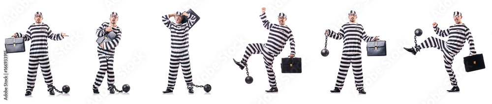 Fototapeta Convict criminal in striped uniform