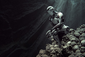 A cyborg in thinker pose sitting on heap of human skulls inside a cave. Light rays from the top. Artificial intelligence conceptual design. 3d illustration
