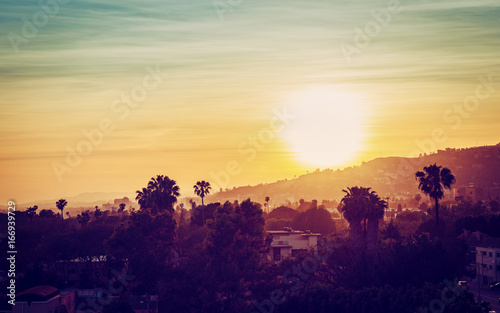 Foto op Canvas Los Angeles Los Angeles mountains with palm trees at sunset. Vintage tone