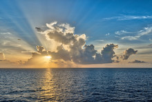 Crepuscular Rays Radiate From The Sun