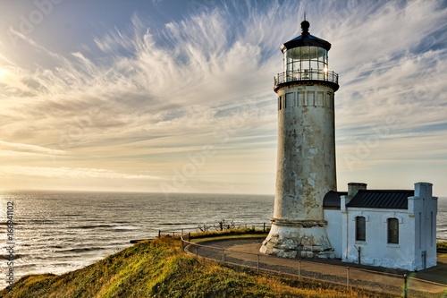 Montage in der Fensternische Leuchtturm Lighthouse at sunset