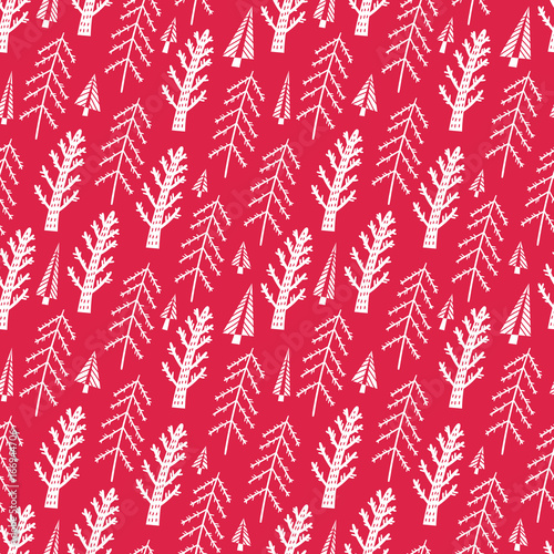 Fir trees seamless vector pattern