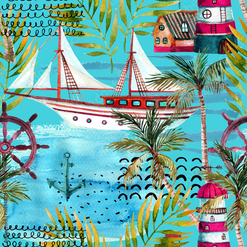 Poster Graphic Prints Watercolor adventure seamless pattern in marine style.