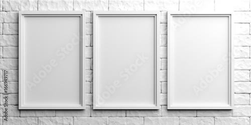 Fototapeta White frames on white brick background. 3d illustration obraz