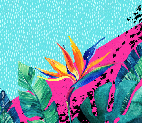 Staande foto Grafische Prints Abstract tropical summer design in minimal style.