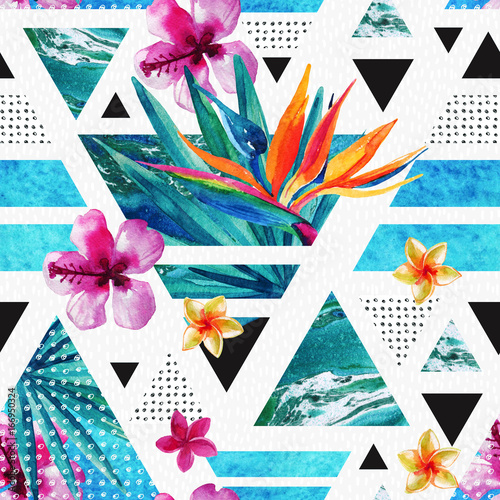 Poster Graphic Prints Abstract summer geometric seamless pattern with exotic flowers