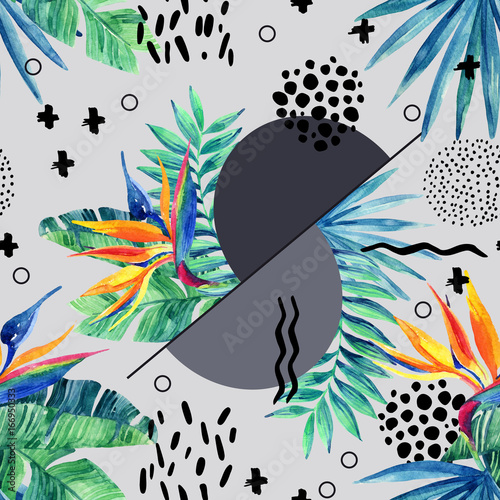 Photo sur Toile Empreintes Graphiques Watercolor seamless pattern with natural exotic and abstract elements.