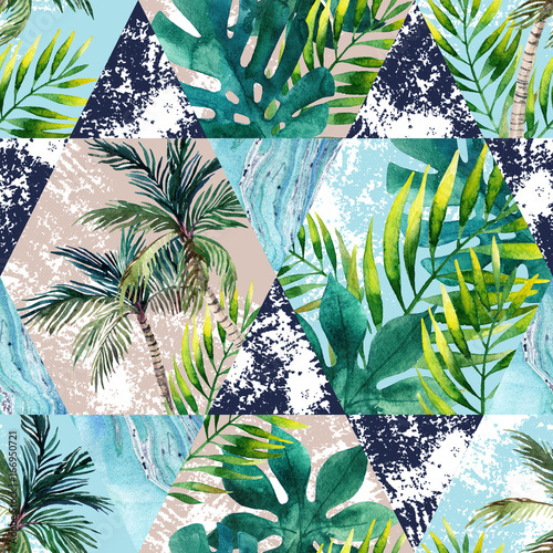 Recess Fitting Graphic Prints Watercolor tropical leaves and palm trees in geometric shapes seamless pattern