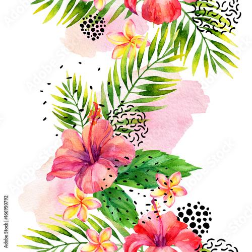 Photo sur Toile Empreintes Graphiques Watercolor tropical leaves and flowers arrangement background.