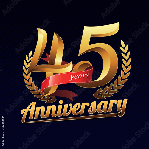 Photographie  45 Years Anniversary Golden Logo Celebration with Red Ribbon