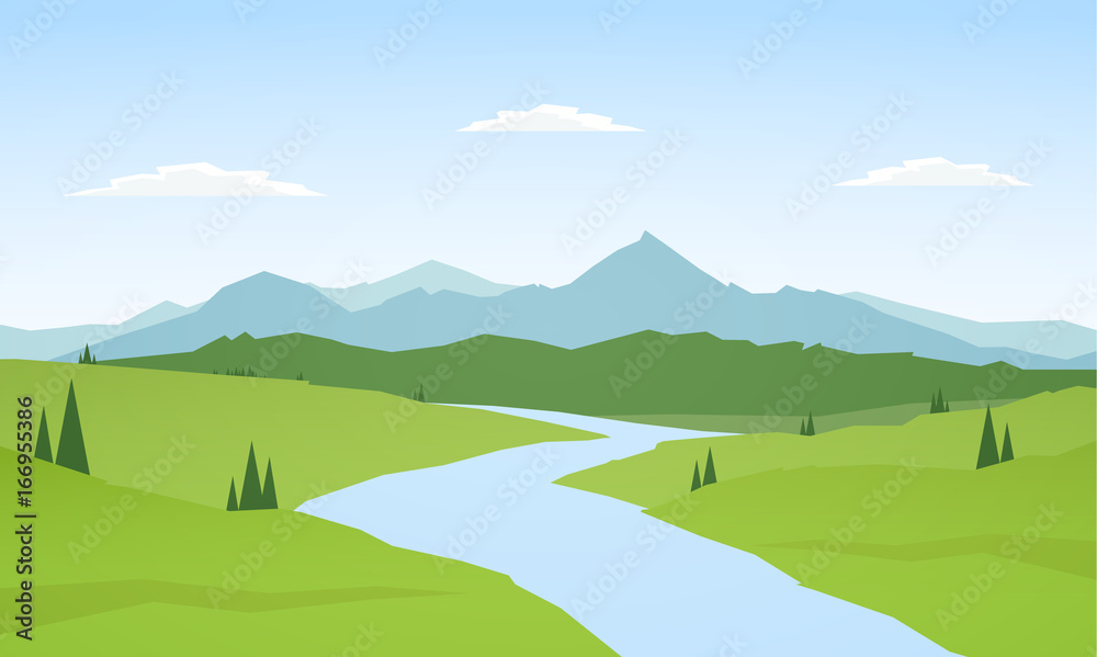 Fototapety, obrazy: Vector illustration: Summer mountains landscape with river on foreground.