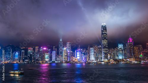 Poster New York Central, Hong Kong, 5 June 2017 -: Business district in Hong Kong at night