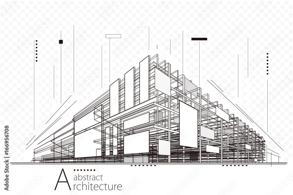 Fototapeta Abstract construction perspective architecture designing line art background.