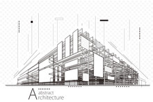 Abstract Construction Perspective Architecture Designing Line Art Background.