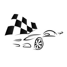 Design Of Car And Checkered Flag