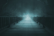 Wooden Walkways With Thick Fog