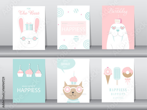 Set Of Birthday Invitations Cards Poster Greeting Template Cat Cake Rabbit Vector Ilrations