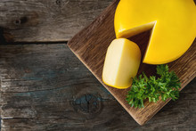Round Gouda Cheese With Parsle...