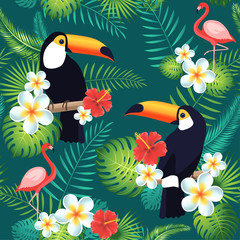 FototapetaTropical seamless pattern with toucans, flamingos, exotic leaves and flowers. Vector illustration