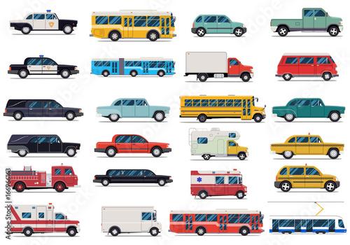 City transport set. Flat design vector illustration isolated on white background