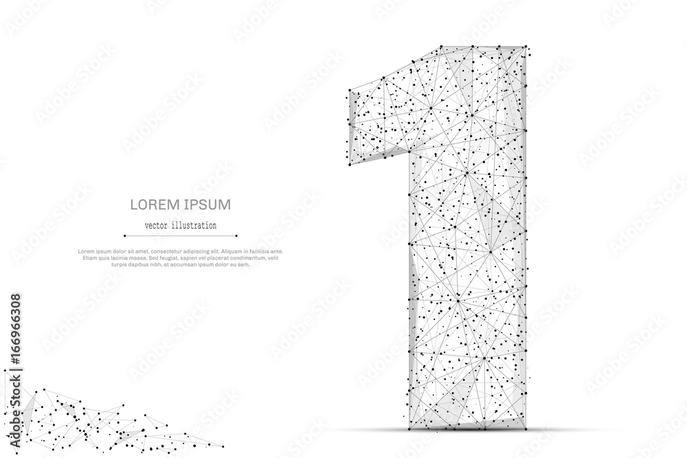 Fototapeta Abstract mash line and point number one on white background with an inscription. Starry sky or space, consisting of stars and the universe. Vector digit 1 illustration