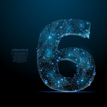 Abstract Image Of A Number Six In The Form Of A Starry Sky Or Space, Consisting Of Points, Lines, And Shapes In The Form Of Planets, Stars And The Universe. Vector Digit 6 Wireframe Concept.