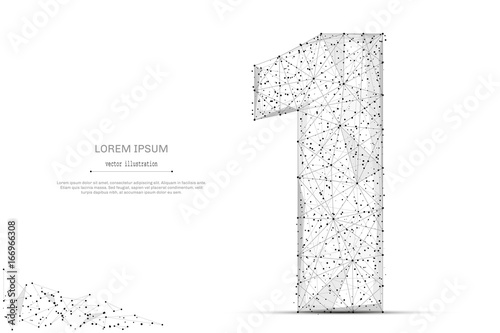 Abstract mash line and point number one on white background with an inscription. Starry sky or space, consisting of stars and the universe. Vector digit 1 illustration