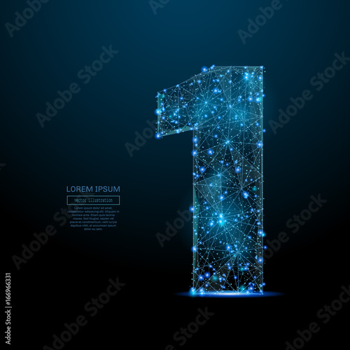 Abstract image of a number one in the form of a starry sky or space, consisting of points, lines, and shapes in the form of planets, stars and the universe. Vector digit 1 wireframe concept.