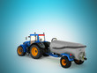 Tractor blue with a barrel of gray 3d render on a blue background