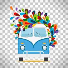 Hippie Flowers Bus On Transpar...