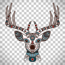 Colorful Deer Head With Ethnic...