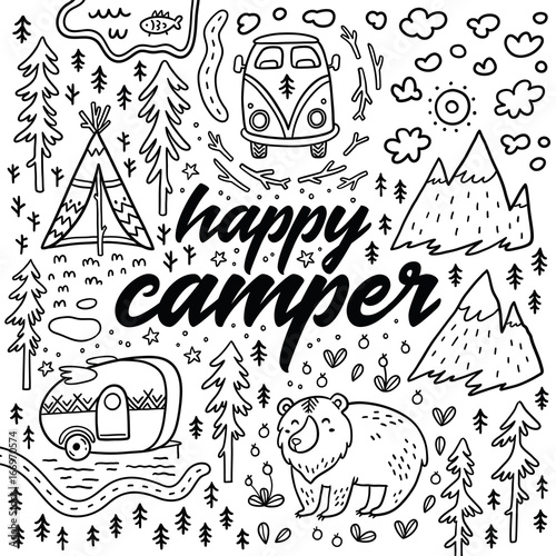 Photo  Happy camper vector hand drawn card. Cartoon camping print