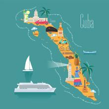 Map Of Cuba Vector Illustration, Design
