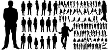 Silhouettes Set Of People, A Collection Of Silhouettes Of Men, Women And Children