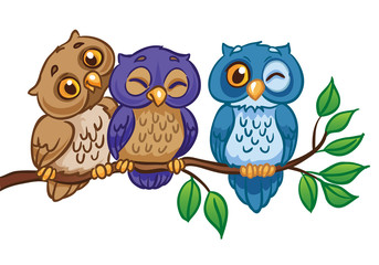 Three owls are sitting on a branch. Isolated on a white background . Vector Illustration