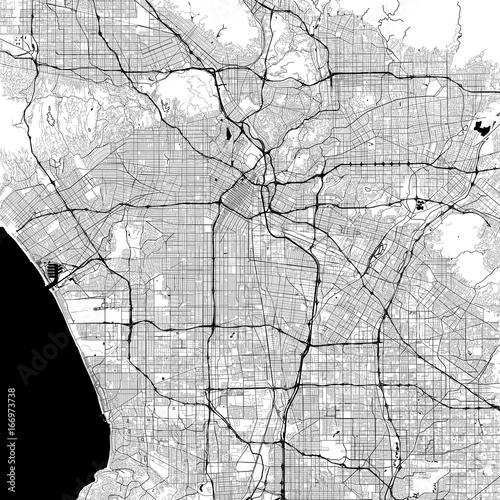 Los Angeles Monochrome Vector Map Fototapete