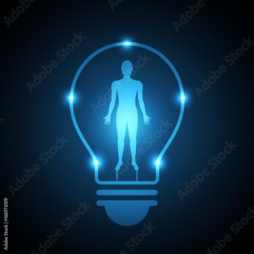 Fototapety, obrazy: technology future human body light bulb