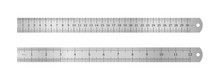 Realistic Metal Ruler Of 30 Centimeters And A Metal Ruler Of 12 Inches