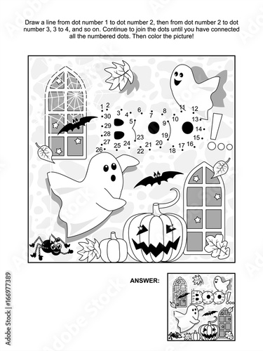Photo  Halloween themed connect the dots picture puzzle and coloring page with little playful ghosts, bats, pumpkins, etc