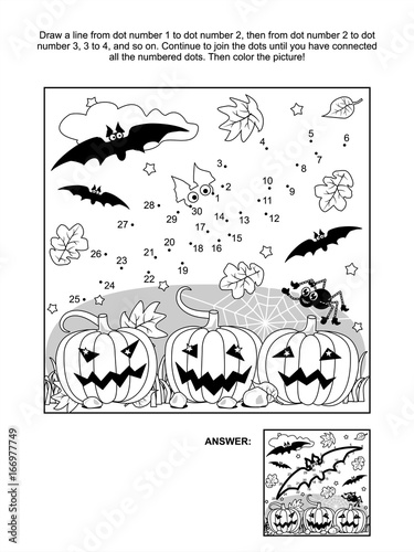Photo  Connect the dots picture puzzle and coloring page - Halloween scene with bats, pumpkins, spider and spiderweb
