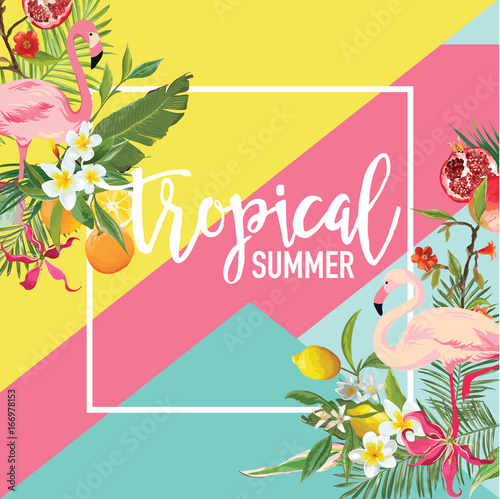Tropical Lemon, Pomegranate Fruits, Flowers and Flamingo Birds Summer Banner, Graphic Background, Exotic Floral Invitation, Flyer or Card. Modern Front Page in Vector