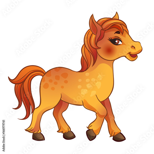 Poster Pony Vector Illustration of skipping beautiful horse. Isolated on a white background.