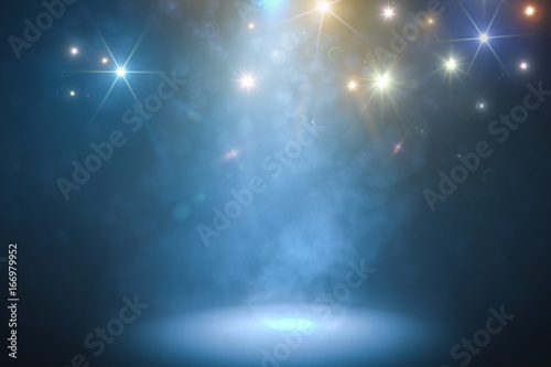 Podium with smoke and blue light. 3D rendered illustration.