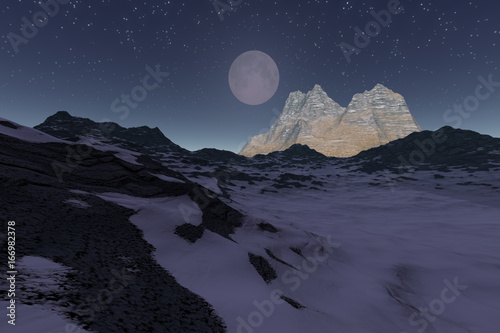 Foto op Aluminium Aubergine Moonlight, a night landscape, a snowy mountain, rocky peak and a sky with stars.