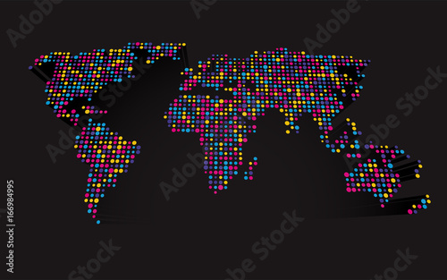 Abstract 3d world map made up of small colorful dots buy this abstract 3d world map made up of small colorful dots gumiabroncs Choice Image