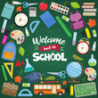 Set of different school supplies on a green chalkboard background. Decoration elements for Back to school holiday. Vector