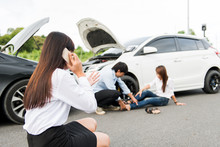Asia Women Stressed Driver Sit...