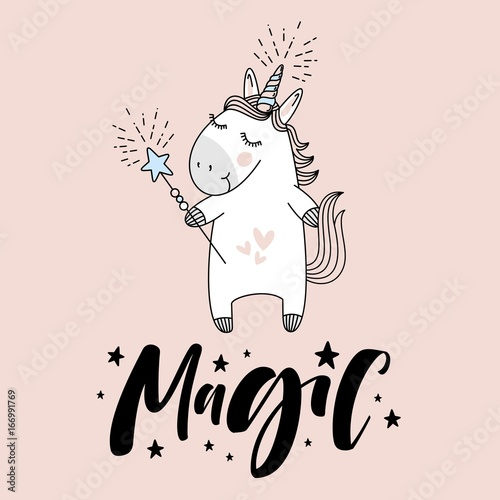"""cute unicorn with """"Magic"""" hand lettering sign."""